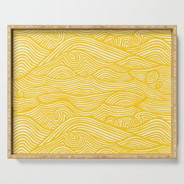 Waves in Yellow Serving Tray
