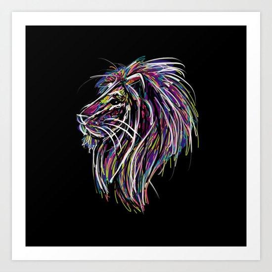 Neon Glow Lion (He)art Art Print