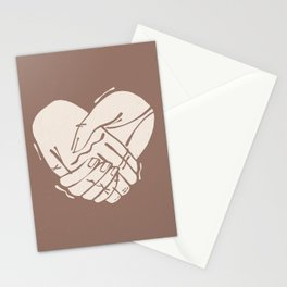 Heart Hands | Ivory on Dusty Rose | Alex Gold Studios Stationery Cards