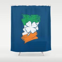 Distressed Irish Flag St Patricks Shamrock Blue Shower Curtain