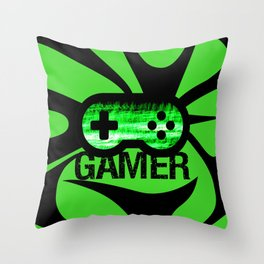Gamer Green V2 Throw Pillow