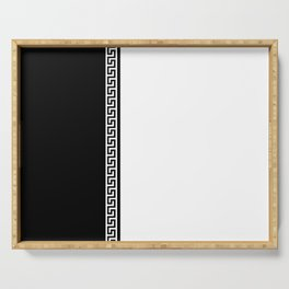 Greek Key 2 - White and Black Serving Tray
