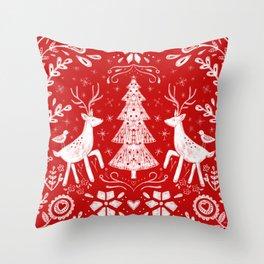 Winter Woodland Scene Throw Pillow