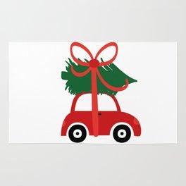 Christmas tree and  truck shirt Rug
