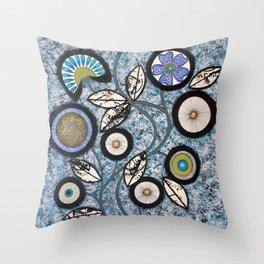 Lovely Flowers Blue Throw Pillow