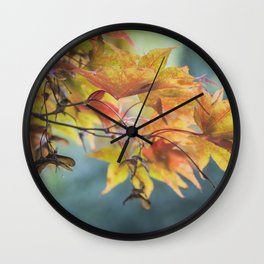 Yellow Acer Leaves Wall Clock