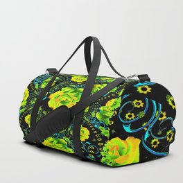 YELLOW ROSE & BLUE RIBBONS ON BLACK ART Duffle Bag