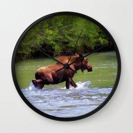 River Crossing Moose Wall Clock