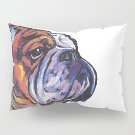 Fun English Bulldog Dog Portrait bright colorful Pop Art Painting by LEA Pillow Sham