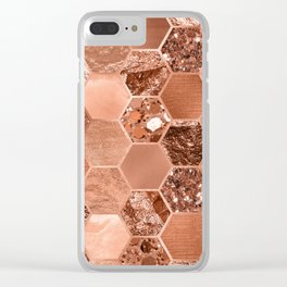 Rose gold hexaglam blonde Clear iPhone Case