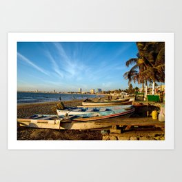 Mazatlan Beach & Boats Art Print