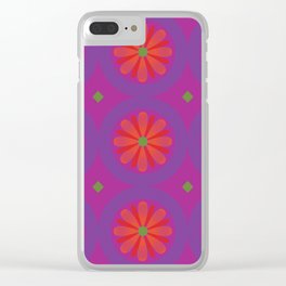 Magenta pattern with geometric flowers Clear iPhone Case