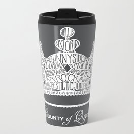 County of Queens | NYC Borough Crown (WHITE) Metal Travel Mug