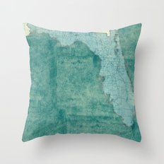 Florida State Map Blue Vintage Throw Pillow