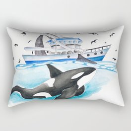 Orca And The Boat Rectangular Pillow