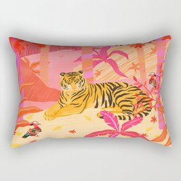 Tiger and Mandarin Ducks Rectangular Pillow
