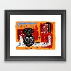 sitting happy Framed Art Print