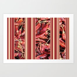 Chilies Stripes pattern red Art Print