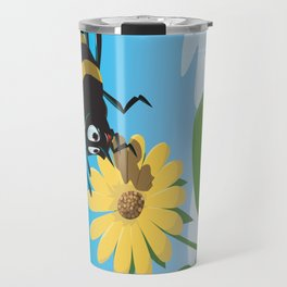 Happy cartoon bee with yellow flower LARGE Travel Mug