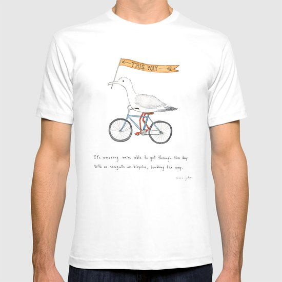 seagulls on bicycles T-shirt