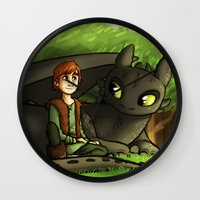 hiccup Wall Clocks featuring hiccup n' toothless by Marie Mikolay