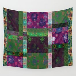 Lotus flower green and maroon stitched patchwork - woodblock print style pattern Wall Tapestry