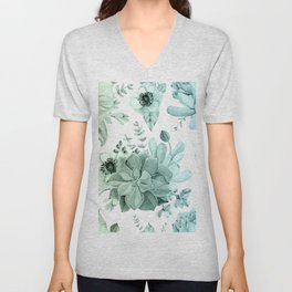 Simply Succulent Garden in Turquoise Green Blue Gradient Unisex V-Neck