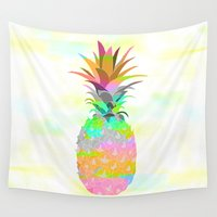 pineapple Wall Tapestries featuring Pineapple by Ornaart