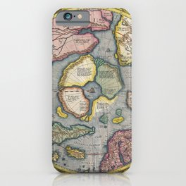 Vintage Map - Mercator Hondius Map of the Arctic (First Map of the North Pole) (1606) iPhone Case