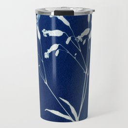 Herbal Sunprint, Wildflower Print, Botanical Cyanotype Travel Mug