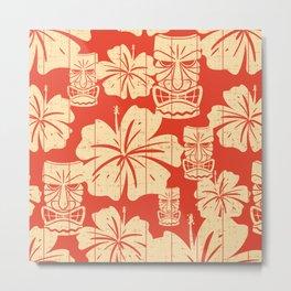 Tiki Pattern in Red Metal Print