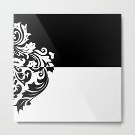 Black & White Inverted Damask Metal Print