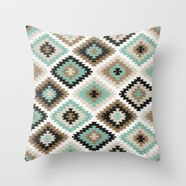 Kilim Protection Pattern – Mint & Neutral Palette Throw Pillow