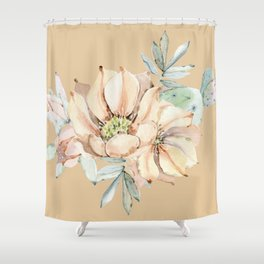 Desert Cactus Flower Apricot Coral Shower Curtain
