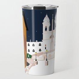 Spanish Steps in Snowy Rome Travel Mug