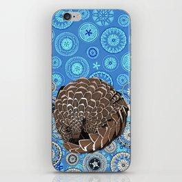 pangolin mandala blue iPhone Skin