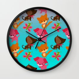 Kitty and Puppy Pattern Wall Clock