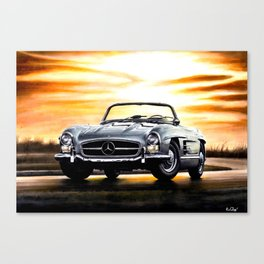 CLASSIC SL300 ROADSTER IN SILVER DURING SUNSET Canvas Print