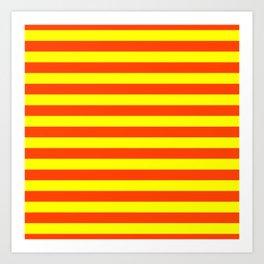 Super Bright Neon Orange and Yellow Horizontal Beach Hut Stripes Art Print