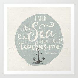 THE SEA - BLUE Art Print