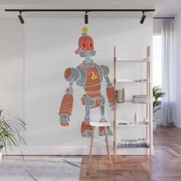 brown robot with lamp head Wall Mural