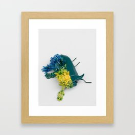 Teal Beetle and Corals in Seaside Colors Framed Art Print