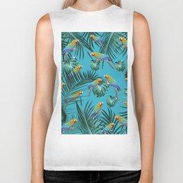 Parrots in the Tropical Jungle #2 #tropical #decor #art #society6 Biker Tank