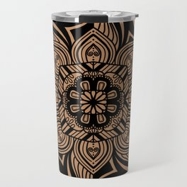 Beige and Black Geometric Mandala Travel Mug