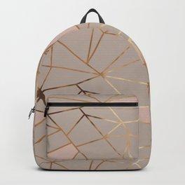 Geometrical mauve pink faux gold blush chic pattern Backpack