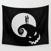 jack skellington Wall Tapestries featuring Nightmare Jack Skellington by aleha