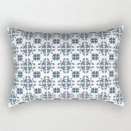 Dusky Blue Flower Flourish Pattern Rectangular Pillow