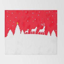 deer family in winter landscape Throw Blanket