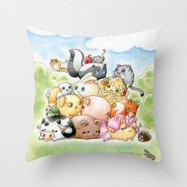 Chibi-Creatures Throw Pillow