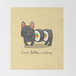 French bulldog maki sushi Throw Blanket
